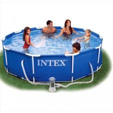Intex Metal Frame zwembad 305 x 76 cm - Met 12-Volt filterpomp