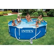 Intex Metal Frame zwembad 366 x 76 cm - Met 12-Volt filterpomp